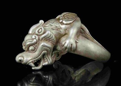Collect Rarity China Hand-Carved Precious Tibetan Silver Ring PI Xiu Statue 3
