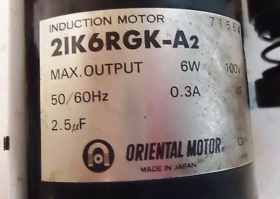 Oriental Inductionl Motor M/n 21K6Rgk-A2 Made In Japan Max. Output:6W, 100W, 2