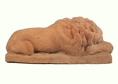 Antique Terracotta Recumbent Lions - Continental - Late 19th/Early 20th Century