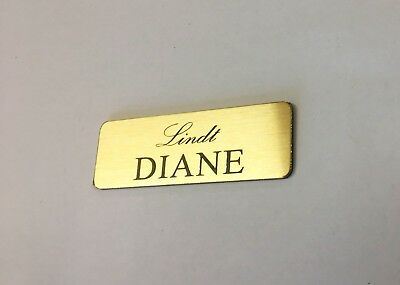 Brushed Gold Name Badge with Text and pin attached Laserable Plastic 70 x 23 mm 5