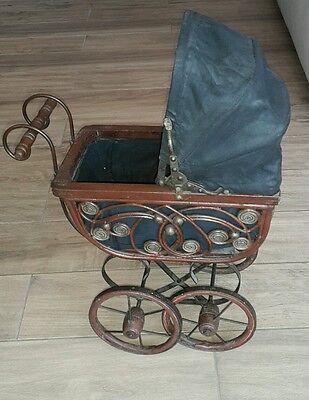 holz metall puppenwagen mit puppe nostalgie eur 39 00 picclick de. Black Bedroom Furniture Sets. Home Design Ideas
