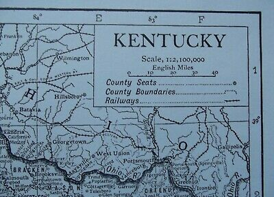 Vintage Map: Kentucky, United States, by Emery Walker, 1926, B/W 2