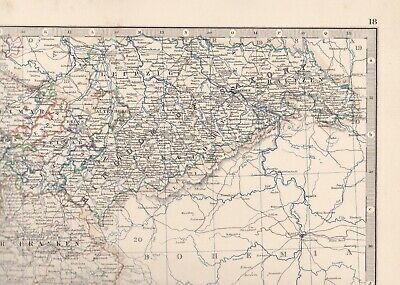 1861 Large Antique A.K.Johnston Map- SOUTH-WESTERN GERMANY - Konstanz to Leipzig 4