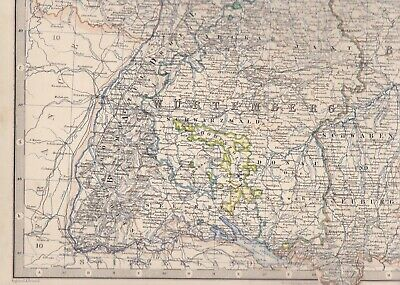 1861 Large Antique A.K.Johnston Map- SOUTH-WESTERN GERMANY - Konstanz to Leipzig 5