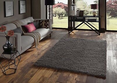 Small - Extra Large Dark Charcoal Grey Thick Pile Plain Modern Soft Shaggy Rug 2