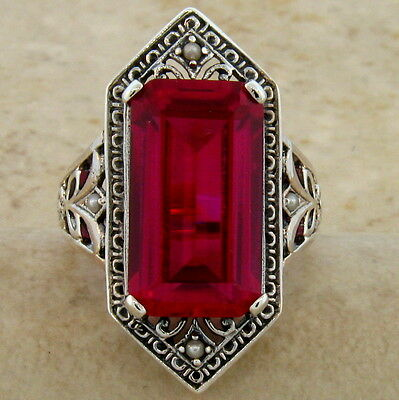 9 Ct. Lab Ruby Antique Victorian Design .925 Sterling Silver Ring Size 10,  #473 5