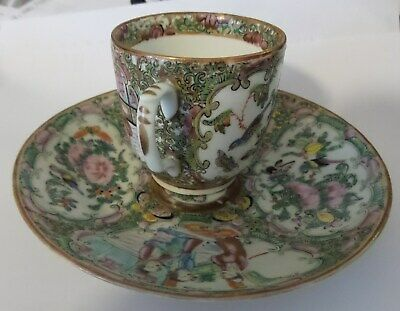 Antique Rose Medallion Cup And Saucer Handpainted Birds And Roses 1800'S 5