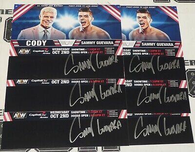 Sammy Guevara Autografato 8x10 Foto Immagine Aew 1st TV Partita V Cody Rhodes 2