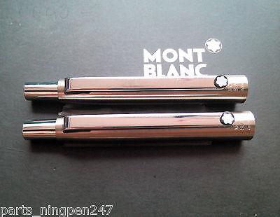 2X Montblanc Slim Line Ballpoint No.2938 Stainless Steel & Gold Cap Part Pen NOS 4