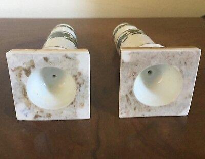 Pair Antique German Meissen Porcelain Candlesticks Green Napoleon Ivy Empire 11