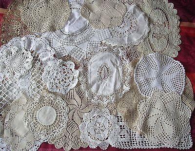 20 x Vintage Doilies MATS CROCHET LACE Job Lot WHITE CREAM COFFEE WEDDING BUNDLE 3