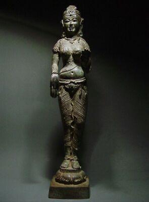 ANTIQUE BRONZE KHMER CELESTIAL HINDU GODDESS, PALA INFLUENCE. 19/20th C. 2