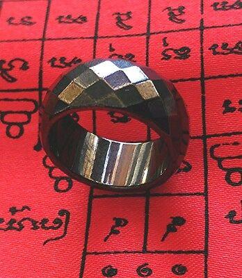 Ring Leklai Magnetic Hematite Thai amulet Prevent Evil relieve illness Size US 7