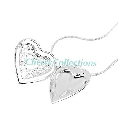 """925 Sterling Silver Heart Necklace, Locket Photo Picture Pendant 18""""  N1 4"""