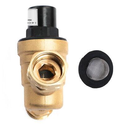 "Water Pressure Regulator For RV Lead-free Brass Adjustable Reducer Gauge 3/4"" 4"