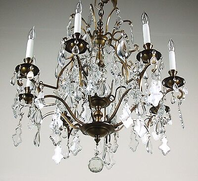 Magnificent Vintage French Style Crystal Pendalogue Tear Drop Prism Chandelier 2