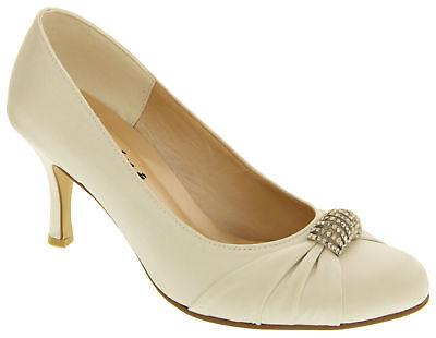 Ladies Womens SABATINE Elegant Satin Diamante Bridal Court Shoes Size UK 3 4 5 6