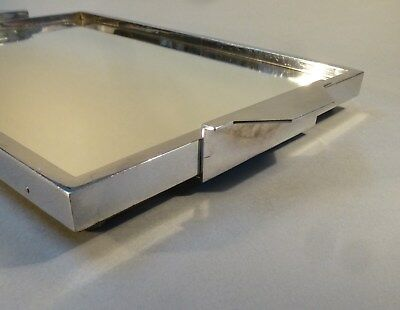Original Art Deco Servier Tablett Metall Chrom Spiegel groß 46cm x 27cm um 1930 3