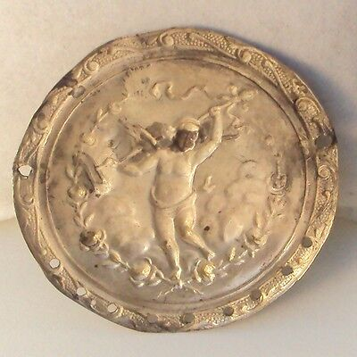 Pompous Post Medieval Silver Plated Angel Applique # 832 4