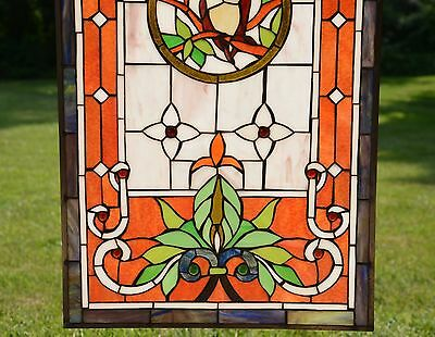"20"" x 34"" Large Tiffany Style stained glass window panel owl on the tree 4"