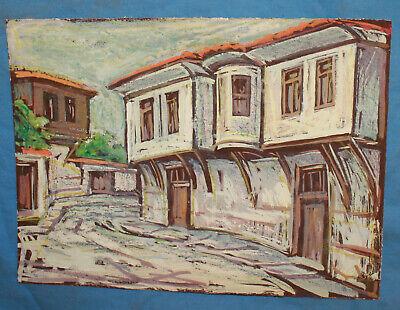 Vintage impressionist pastel painting cityscape village 2