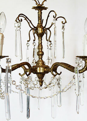 Antique Crystal & Brass Chandelier Rectagular Prisms Gorgeous 3