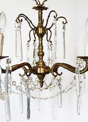 Antique Crystal & Brass Chandelier Rectagular Prisms Gorgeous 3