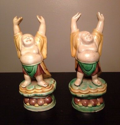 PAIR Fine Old Chinese Ceramic Glazed Buddhas Raised Hands Robed Standing Statues 12