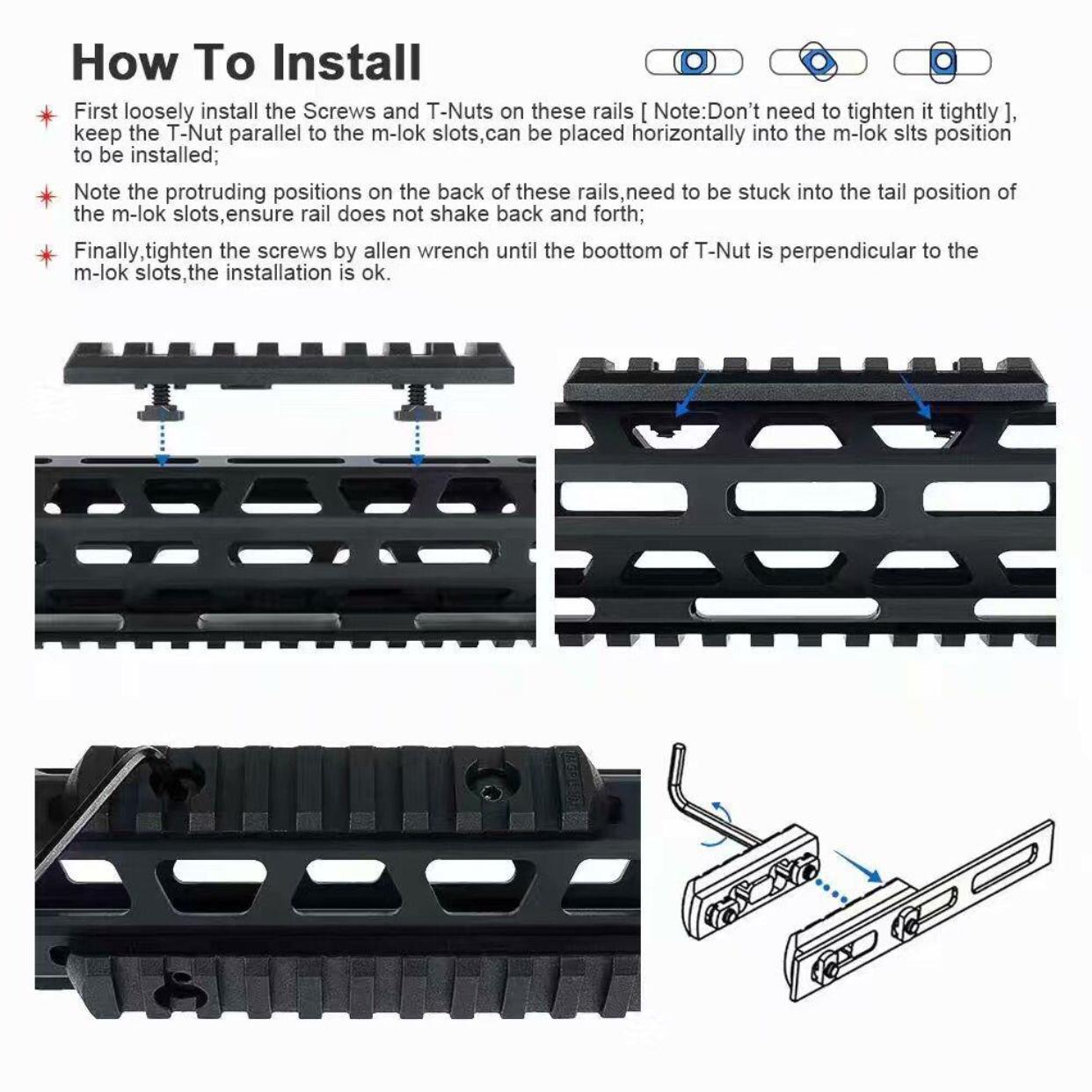"M-Lok Picatinny / Weaver Rail Handguard Section Aluminum - 2"" 3 Slot Black 6"