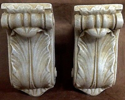 Antique Finish Shelf Acanthus Leaf Wall Corbel Sconce Bracket Pair 4
