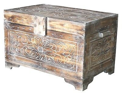 Truhe 60 cm Holz Deko Schatztruhe Holzkiste Holztruhe Aufbewahrung Kiste hell