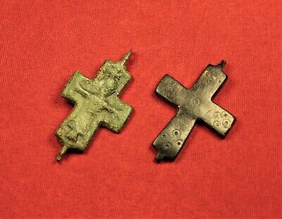2 Medieval Byzantine Reliquary Crucifix Cross Pendant, 10. Century 2
