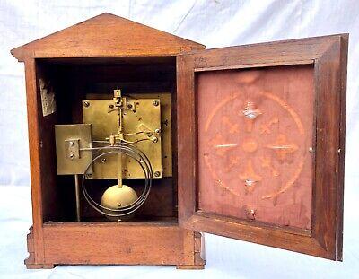 ~ Antique Architectural LENZKIRCH Walnut TING TANG Bracket Mantel Clock WORKING 11