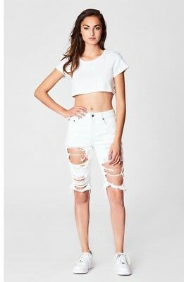 LF carmar white distressed high rise double zip front shorts sz 26 $178