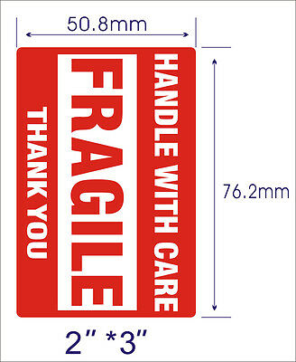 2 Rolls 500/Roll 2x3 Fragile Stickers Handle with Care Thank You Mailing Labels 7