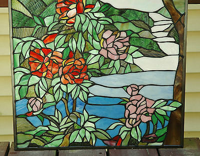 """20"""" x 34"""" Tiffany Style stained glass Jeweled window panel Cherry Blossom 8"""