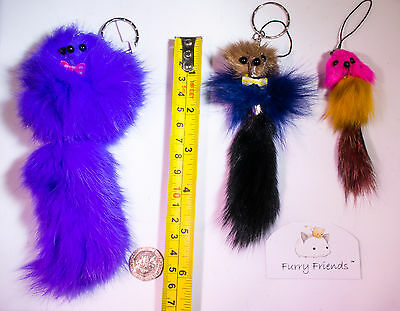3 FOR 2! Cat Teaser Toy Real Rabbit Fur Cute Cat Gift Furry Friends Fun Charm 2