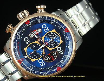 1 of 12FREE Shipping 17203 Invicta 48mm Men AVIATOR Swiss Quartz  Chronograph Blue Dial Bracelet Watch