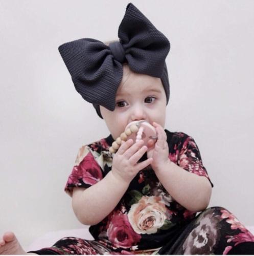 Handmade Baby Girls Large Bow Headband Infant Toddler Knot Hair Band Head Wrap 2