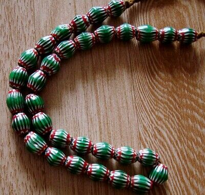 "20"" 32 Bead Antique Phoenician Green, White,Red Six Layer Chevron Glass Necklace 6"