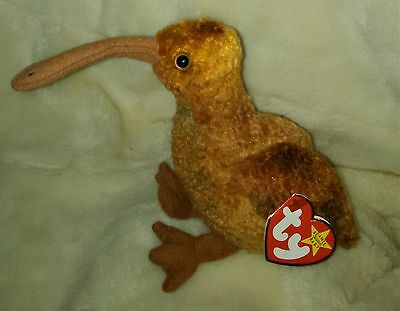 "TY Beanie Baby ~ BEAK 8"" Kiwi Bird ~ NEW with Tags Retired with PE Pellets"
