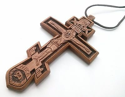 Exclusive Orthodox Pectoral Cross Wooden Handmade Crucifix Jesus Christ Chain