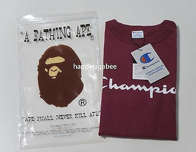 A BATHING APE Men/'s BAPE x CHAMPION TEE 4colors From Japan New