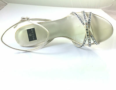 Scarpa Sandalo Sposa Raso Panna Con Strass Tacco H 9 Cm Made In Italy