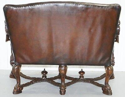 1850 Palatial Venetian Carved Walnut Leather Bench Valentino Panciera Besarel 12