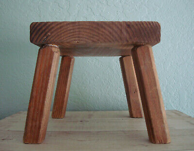 Small Wood FARMHOUSE MILKING STOOL- VTG Primitive Small Bench, Childs Furniture 3
