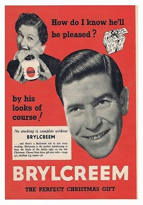 Brylcreem 2 Barber Classic Vintage Retro Poster Hairdresser Old Advert Photo
