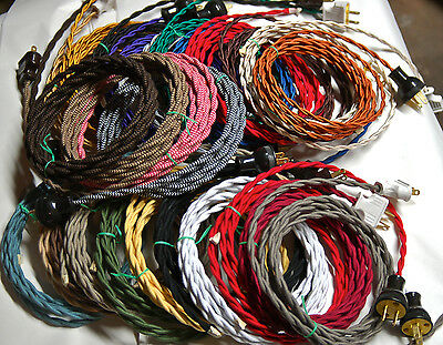 8' Twisted Cloth Covered Wire & Plug, Vintage Light Rewire Kit, Lamp Cord, rayon 3