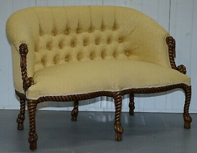Rope Twist Napoleon Iii Style Suite Seating Armchair & Settee Chesterfield Sofa 2