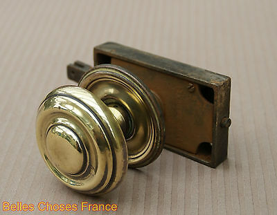 Antique Rare french iron door lock with gold copper round handle 2